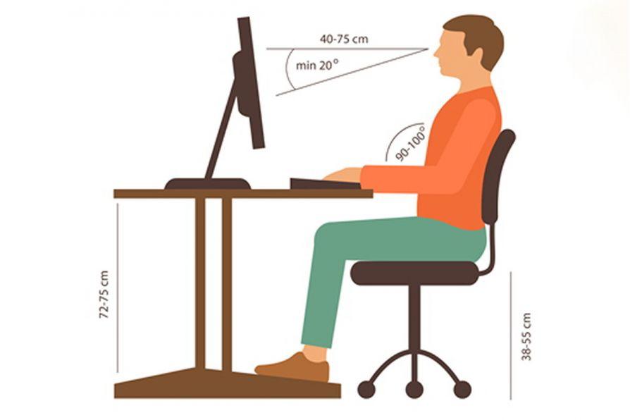 tư thế ngồi đúng khi sử dụng máy vi tính
